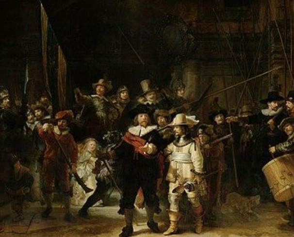 The Night Watch of 1642 by Rembrandt gives some idea of the