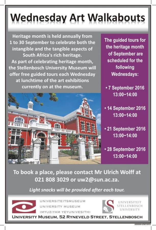 Free tours of the Stellenbosch University Museum - Heritage
